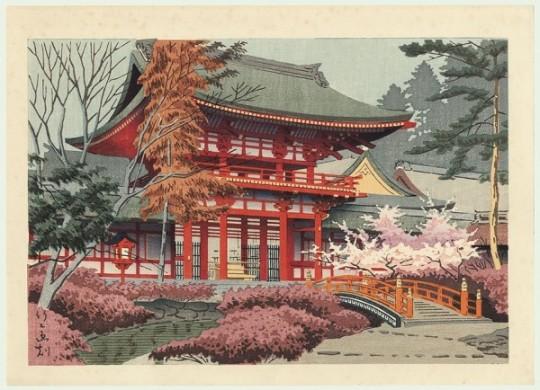 Temple Kamigamo au printemps, Kyoto - 1930