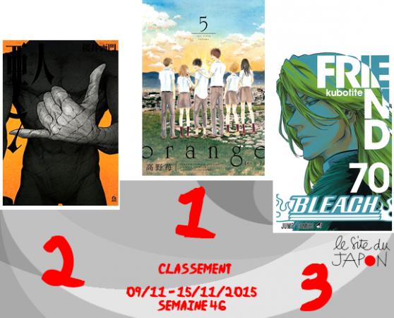 Classement Manga 2015 | semaine 46 | 09/11 au 15/11