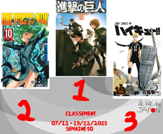Classement Manga 2015 | semaine 50 | 07/12 au 13/12