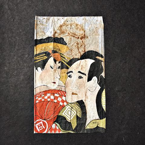 26 jours au Japon, art sur sachet de thé.